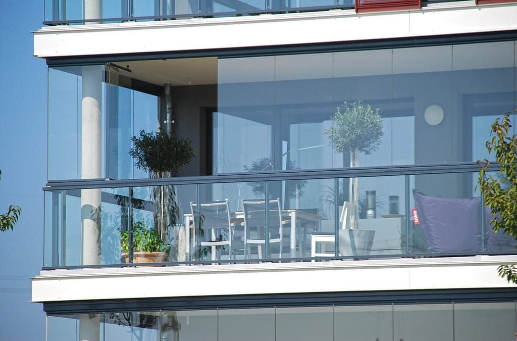 Sliding glass panels